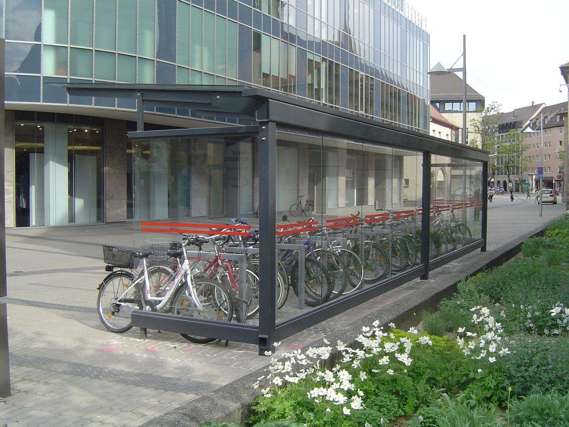 Fahrradüberdachung FH 90, Rückansicht