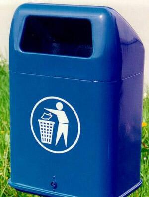 Abfallbehälter AB 70 Blau, aus Stahl