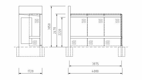 Maße und technische Details zur Wartehalle Meilenstein