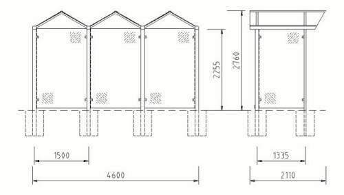 Maße und technische Daten der Fahrradüberdachung FH 1