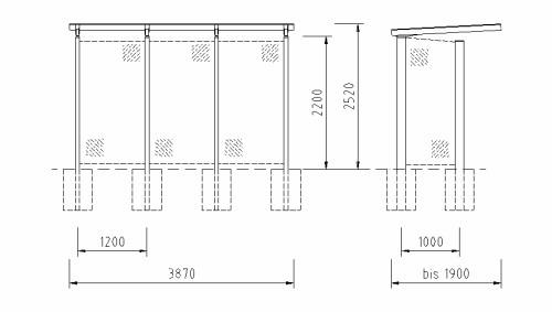Maße und technische Daten der Fahrradüberdachung FH 32