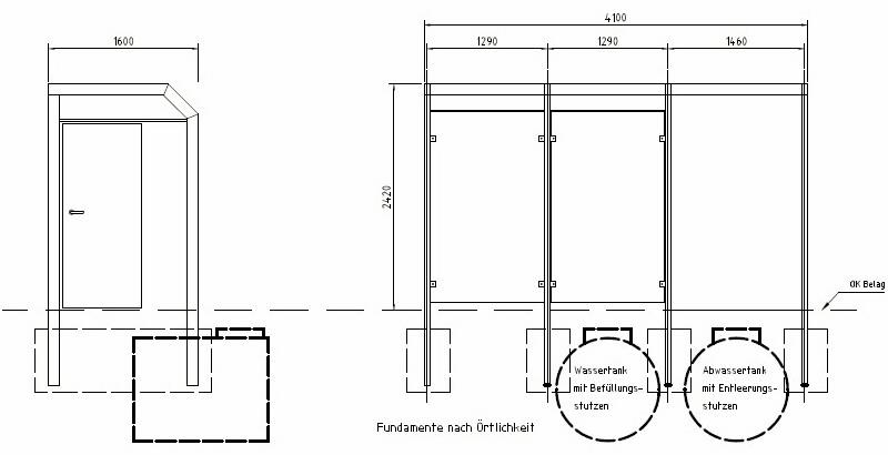 Wartehalle WH 16 mit Personaltoilette, Grundriss