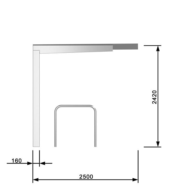 Maße und technische Daten der Dahrradüberdachung FH 60